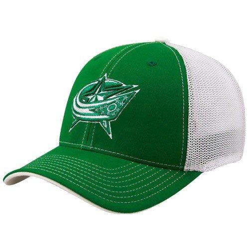 bc4e6b4238b Reebok Columbus Blue Jackets Kelly Green St. Patrick s Day Structured Mesh  Back Flex Fit Hat