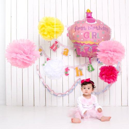 1歳のお誕生日パーティに海外のパーティーみたいなコーディネートが出来ちゃうセット 女の子 フラワーポム&カップケーキ
