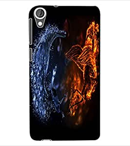ColourCraft Fire and Ice Dragon Design Back Case Cover for HTC DESIRE 820