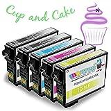 INKUTEN - 5 Pack Replacement 252 252XL Edible Ink Compatible with WF 7620 WF 7610 WF 7110 WF 3620 WF 3630 WF 3640 Edible Cake Printing
