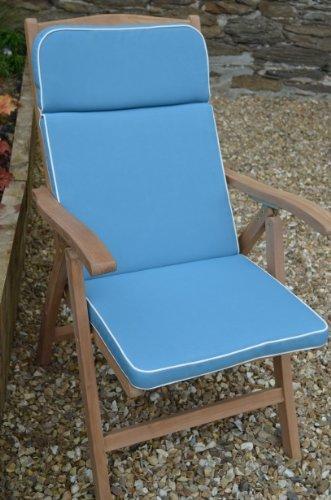 Luxus-Gartenliege Auflage mit Premium-Füllung und Stoff-NUR Sitzkissen, Hellblau günstig kaufen