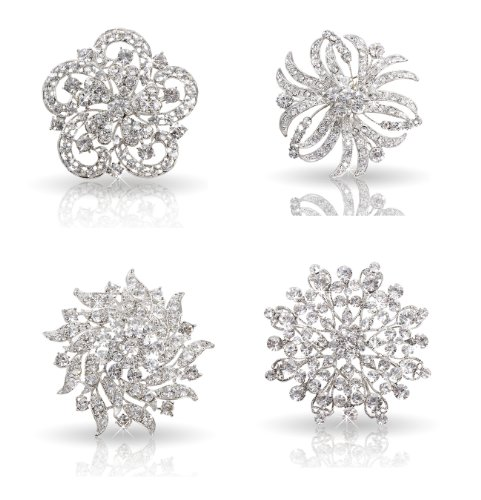 Bundle Monster Womens Fancy Vintage Clear Crystal Bling Bezel Flower Fashion Brooch Set - 2 (4pcs per set) (Crystal Brooch compare prices)