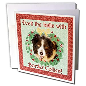 gc_11973_2 Doreen Erhardt Christmas - Deck the Halls with Border Collies - Greeting Cards-12 Greeting Cards with envelopes