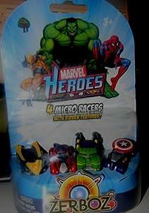 zerboz marvel heroes 4 micro racers wolverine, spiderman, hulk & captain america