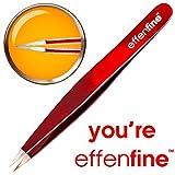 effenfine Pointed Tweezers for Ingrown Hairs, Splinter and Ticks - German Stainless Steel Tweezer Guaranteed for 10 Years
