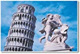 Leaning Tower of Pisa & Statue - NEW World Travel Poster