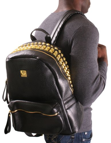 Garin Black Croc Crocodile Men's Backpack Bag Studs Studded MCM TISA DGK