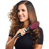VelVeeta Simply Straight Ceramic Brush Hair Straightener, Black/Pink