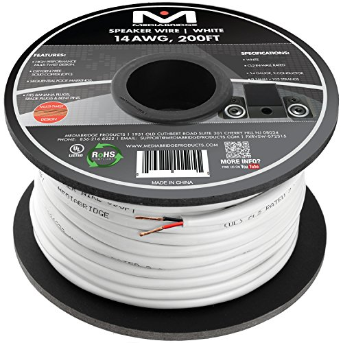 Mediabridge 14AWG 2-Conductor Speaker Wire (200 Feet, White) - 99.9% Oxygen Free Copper - UL Listed CL2 Rated for In-Wall Use (Part# SW-14X2-200-WH ) (Speaker Wire 14 Gauge 200 Feet compare prices)