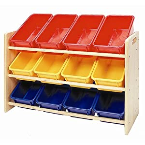Ecr4kids See-N-Store 3-Tier Wood Rack With White 12 Bins & Lids by Ecr4kids