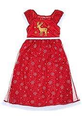 Komar Kids Big Girls' Holiday Deer Snowflake Dressy Gown