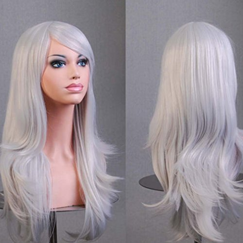 [Anime Cosplay Synthetic Wig 11 Colors Japanese Kanekalon Heat Resistant Fiber Full Wig with Bangs Long Layered Curly Wavy Vogue 23'' / 58cm for Women Girls Lady Fashion and Beauty (silvery] (Wavy Guy Costume)