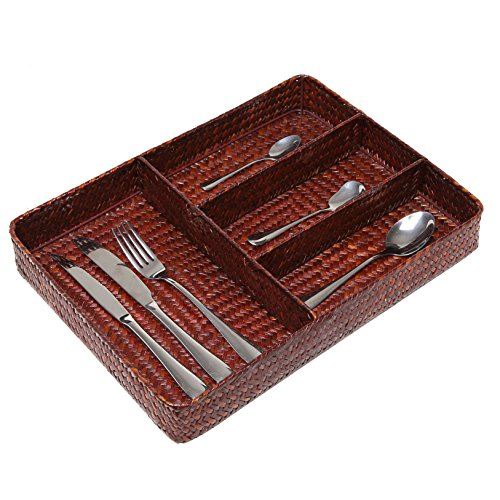 Woven seagrass 4 compartment kitchen utensil cutlery for Utensil organizer for small drawers