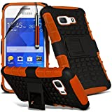 ( Orange ) Samsung Galaxy Young 2 Case Stylish Designed Tough Survivor Hard Rugged Shock Proof Heavy Duty Case W/ Back Stand, LCD Screen Protector Guard, Polishing Cloth & Mini Retractable Stylus Pen by Fone-Case