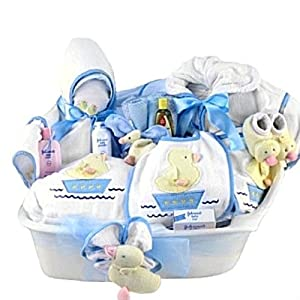 Pampered new baby boy bath time gift basket for A bathroom item that starts with n