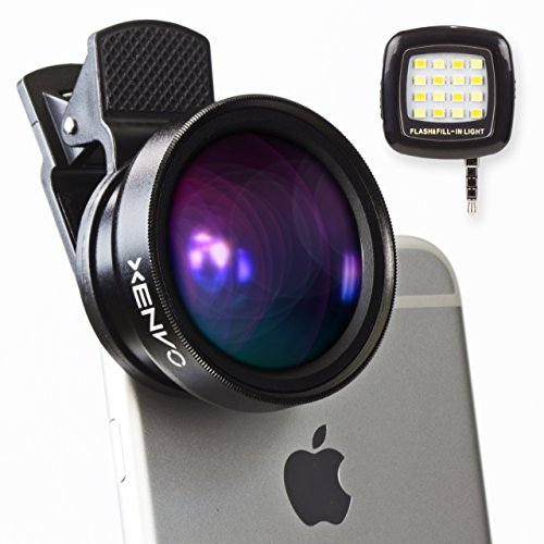 XENVO-Premium-Camera-Lens-Kit-with-LED-Light-and-Portable-Case-2-in-1-Wide-Angle-Lens-and-Macro-Lens-for-iPhone-66s6s-Plus5s-and-AndroidSamsung