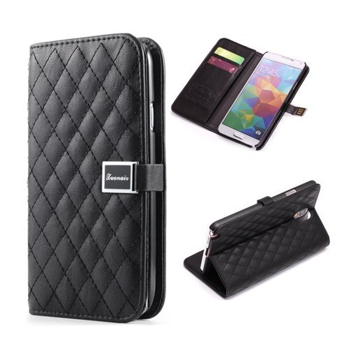 Moon Monkey Classical Plaid Soft Leather Cover Cases Wallet With Card Slots Feature For Samsung Galaxy S5 (Black)