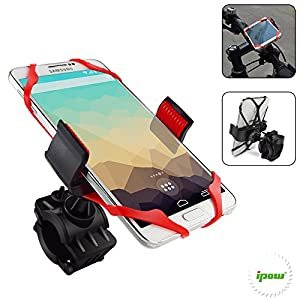 Bike Mount, Ipow Universal Cell Phone Bicycle Rack Handlebar & Motorcycle Holder Cradle for iPhone 6 6(+) 6S 6S plus 5S 5C, Samsung Galaxy S5 S4 S3 Note 3 Note 4 Note 5,Nexus 5,HTC,LG,BlackBerry,Black