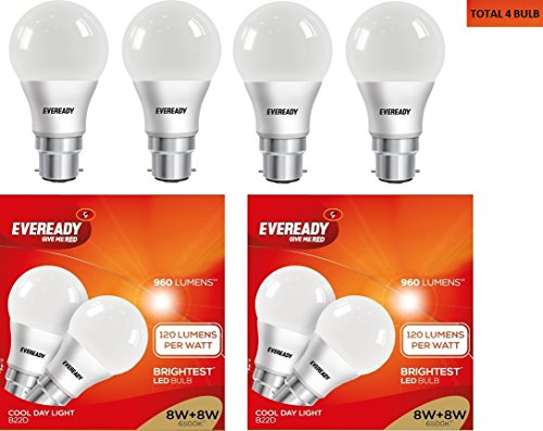 8W B22D LED Bulb (Cool Day Light, Pack of 4)
