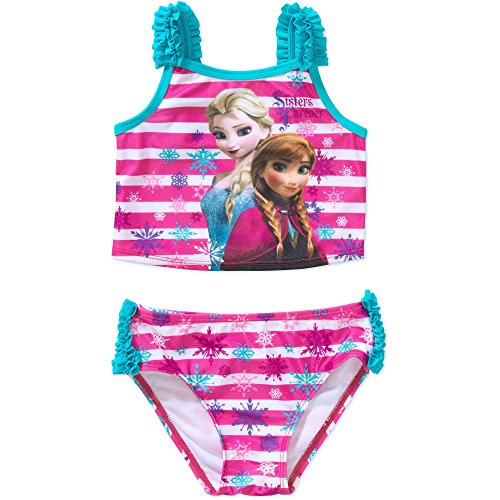 Disney Frozen Little Girls Elsa Anna Two Piece Tankini Swimsuit (4T)