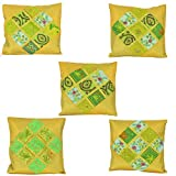 Chic & Comfort My Home MY Life.... Blended Cotton Cushion Cover (Set Of 5 ) (16 Cm X 16 Cm,Green)