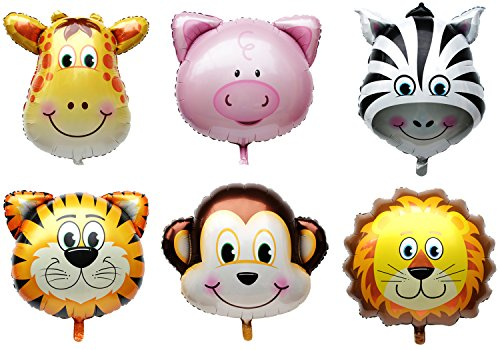 Langxun 6 Pcs Jungle Animals / Farm Animals Ballons for Kids Birthday Party Decorations / Birthday Party Supplies - Lion, Tiger, Monkey, Zebra, Pig, Giraffe