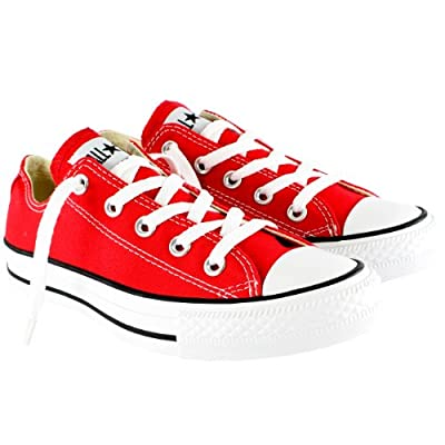 Mens Converse All Star Ox Low Top Chuck Taylor Chucks Lace Up Trainer - Red - 10