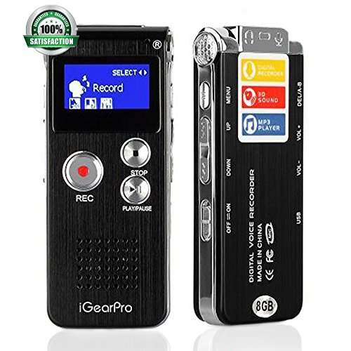 iGearPro Multifunctional Voice Recorder – Portable Rechargeable Digital Audio Dictaphone – MP3 Player (8GB)