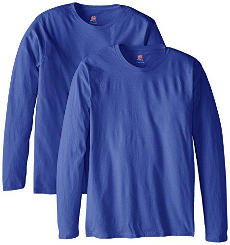 hanes-mens-long-sleeve-nano-cotton-premium-t-shirt-pack-of-2-deep-royal-large