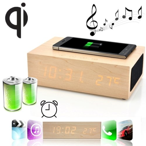 W2 Qi Wireless Charger Wooden Led Clock Bluetooth Speaker With Thermometer & Alarm Function