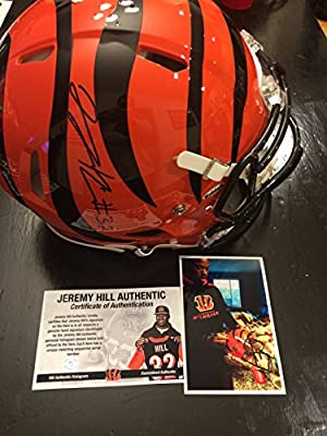Jeremy Hill Signed Autographed Cincinnati Bengals Full Size Speed Revolution PRO LINE AUTHENTIC Bengals Helmet Exclusive JHILL Player Hologram and COA Card W/Photo From Signing
