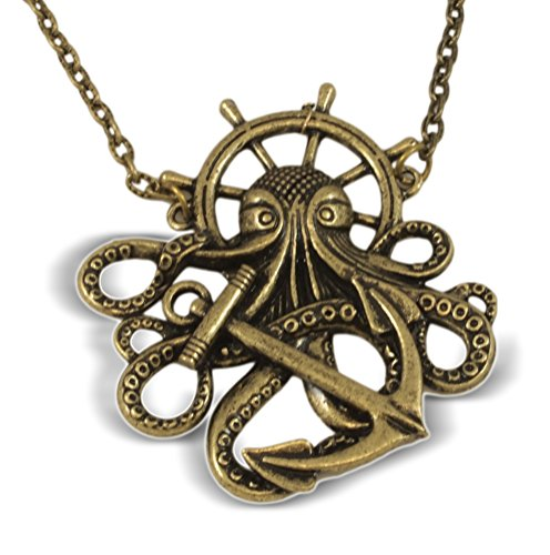 Steampunk Octopus Pendant Necklace, 19-21 Inch, Antiqued Bronze Finish
