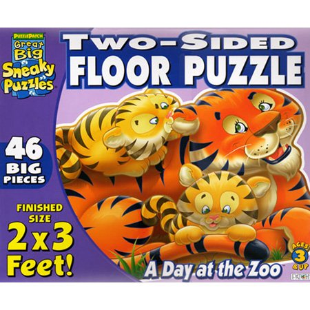 Picture of Fun Two Sided A Day at the Zoo Floor Jigsaw Puzzle 46pc (B000J578TW) (Floor Puzzles)