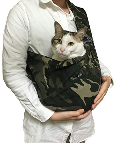 Foldable Pet Dog Cat Carrier Sling Bag with Safety Leash (M, Camouflage)