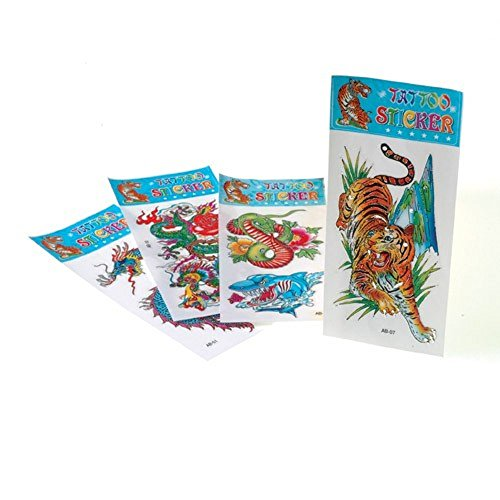 Jumbo Temporary Tattoos (1 Dozen) Assorted: Tiger, Dragon, Snake and Shark - 1