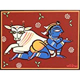 Tallenge - Indian Art - Jamini Roy - Krishna The Cowherd - Xlarge Size Unframed Rolled Digital Art Print On Photographic...