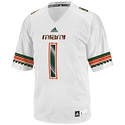 NCAA Miami Hurricanes Men's 3-Stripe Football Jersey, XX-Large, White (Miami College Football Jersey compare prices)