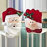 LIHAO Lot de 2pcs Christmas Housse de Dos de Chaise Mr & Mrs Santa Calus Père Noël Couverture de Siège pour Décorations de Noël...