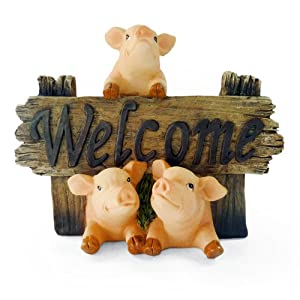 Cute Pigs Welcome Collectible Figure Great Garden Decor