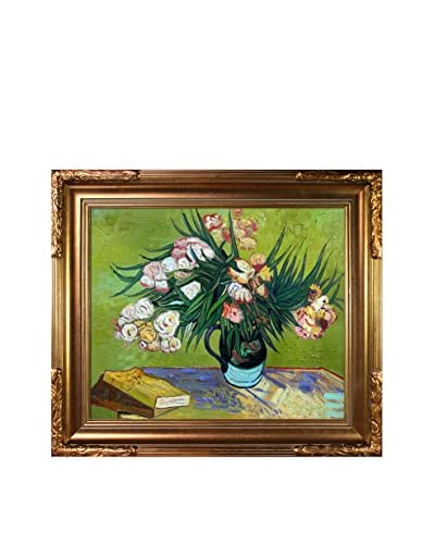 Vincent Van Gogh's Majolica Jar with Branches of Oleander, 1888 Framed Hand Painted Oil on Canvas, M...