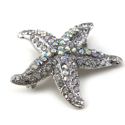 White Clear Starfish Charm Pin Brooch Silver