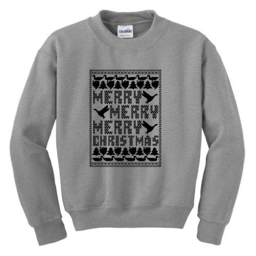 Merry Merry Merry Christmas Ugly Sweater Youth Crewneck Sweatshirt Medium Sport Grey