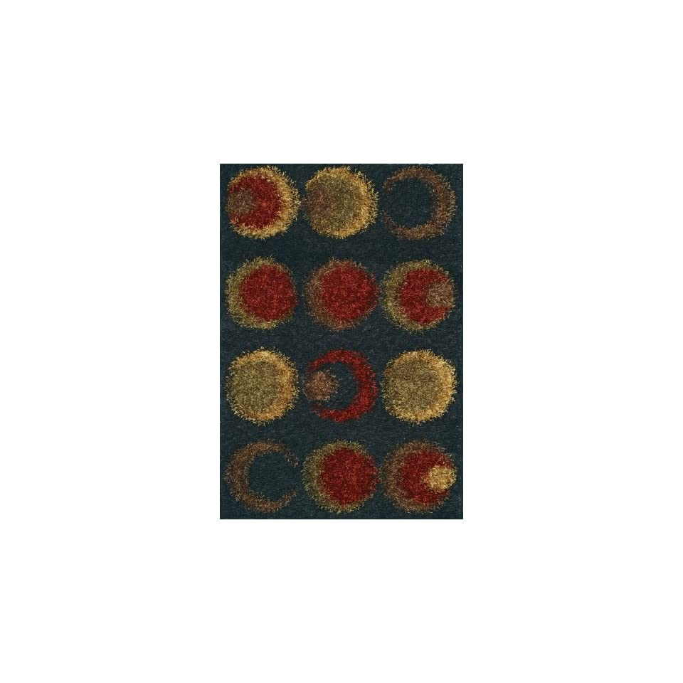 Modern Shag Contemporary BIG Area Rug SOFT CARPET Black 9x12 9x13 circles rings Exact Size9' X 13'   Hand Tufted Rugs