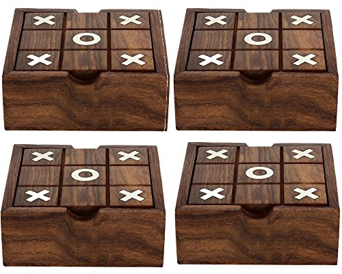 "Set of 4 - 2 in 1 Wooden Game Set Tic Tac Toe Solitaire Board Game - Gifts for BirthDay - 5"" x 5"" x 1.5"""
