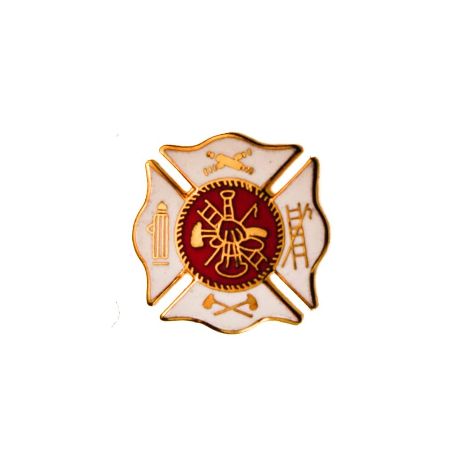Fire Department Dept Red on White hat or lapel pin D27