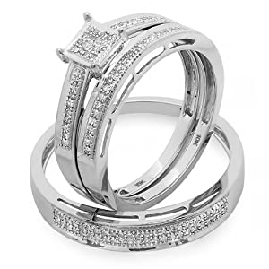0.20 Carat (ctw) 10k White Gold Round Diamond Ladies & Mens His Hers Bridal Engagement Ring Trio Set Band 1/5 CT