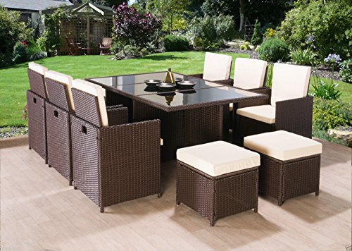 BROWN-CUBE-RATTAN-GARDEN-FURNITURE-DINING-SET-CHAIRS-SOFA-TABLE-OUTDOOR-PATIO-WICKER-10-SEATS-11PC