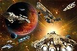 Papel pintado fotogr�fico de naves espaciales en el universo - Naves espaciales Galaxia -decoraci�n mural XXL para habitaciones de ni�os 336 cm x 238