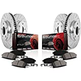 Power Stop K840 Front and Rear Ceramic Brake Pad and Cross Drilled/Slotted Combo Rotor One-Click Brake Kit