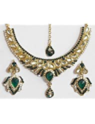 Faux Emarald And White Zirconia Studded Kundan Necklace Set With Mang Tika - Stone And Metal